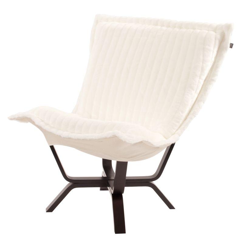 "Howard Elliott Mink Milan Puff Chair 40"" Tall Acrylic and Polyester"