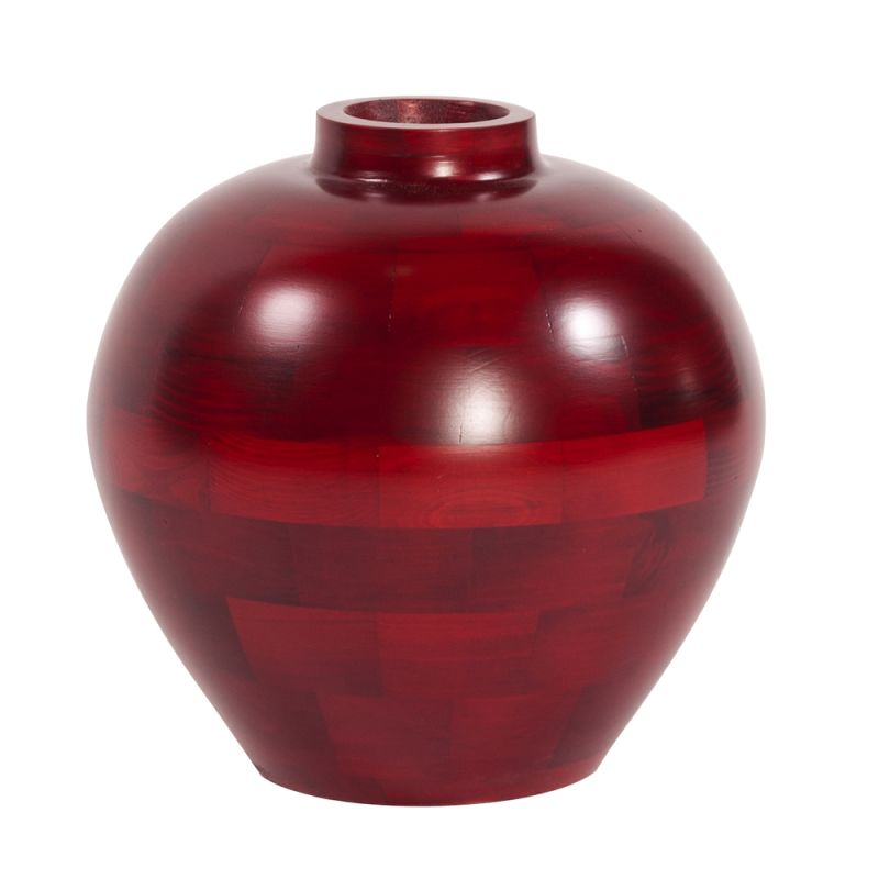 "Howard Elliott Short Matte Red Wood Vase 12"" Tall Wood Vase Matte Red"