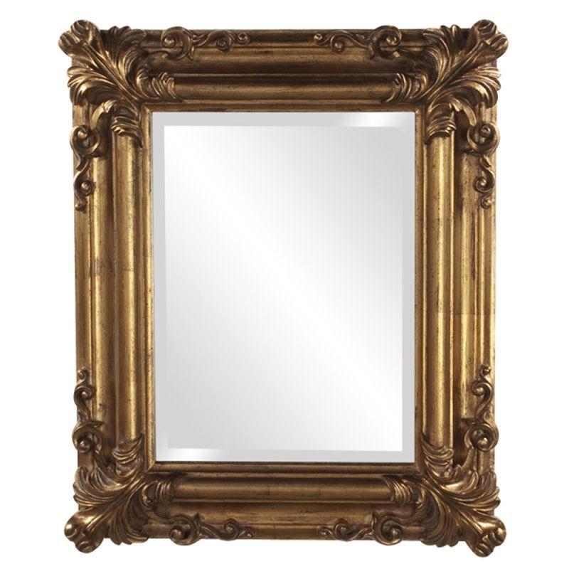 "Howard Elliott 56007 Edwin 23"" x 19"" Gold Mirror Glossy White Home"