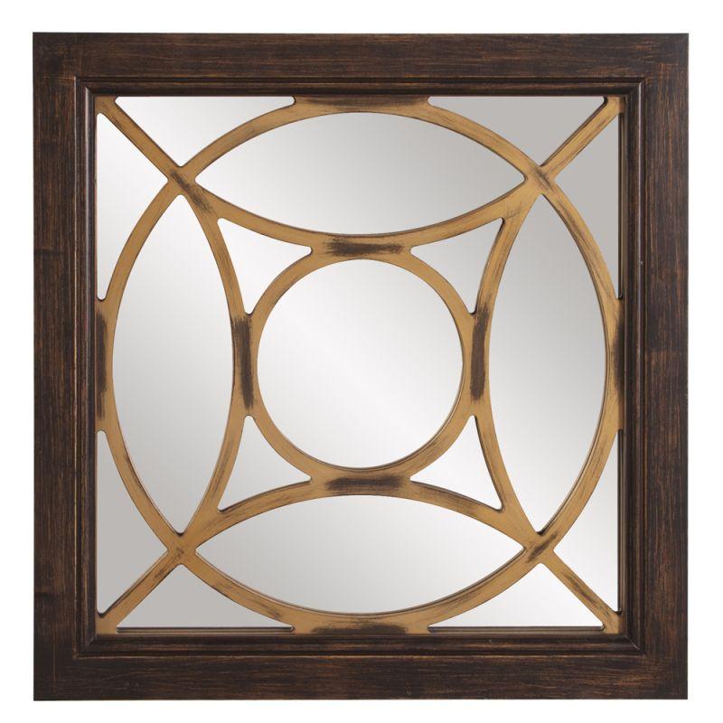 "Howard Elliott 57007 Ignatius 24"" x 24"" Square Wood Mirror Walnut Home"