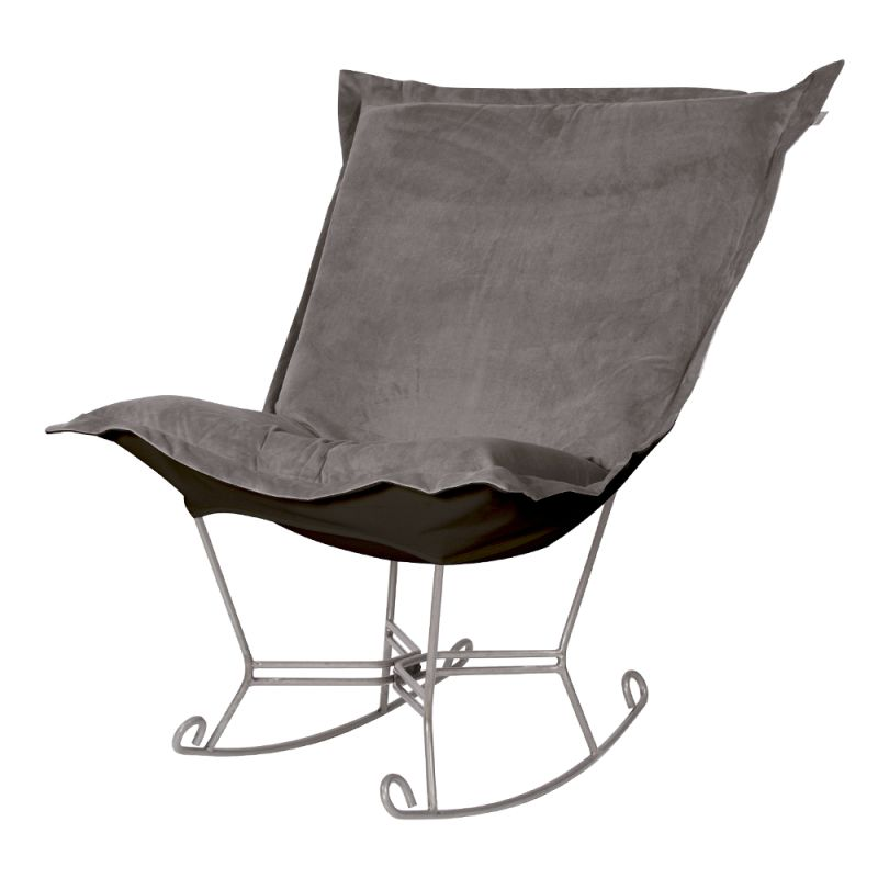 "Howard Elliott Bella Scroll Puff Rocker with Titanium Frame 40"" Tall"