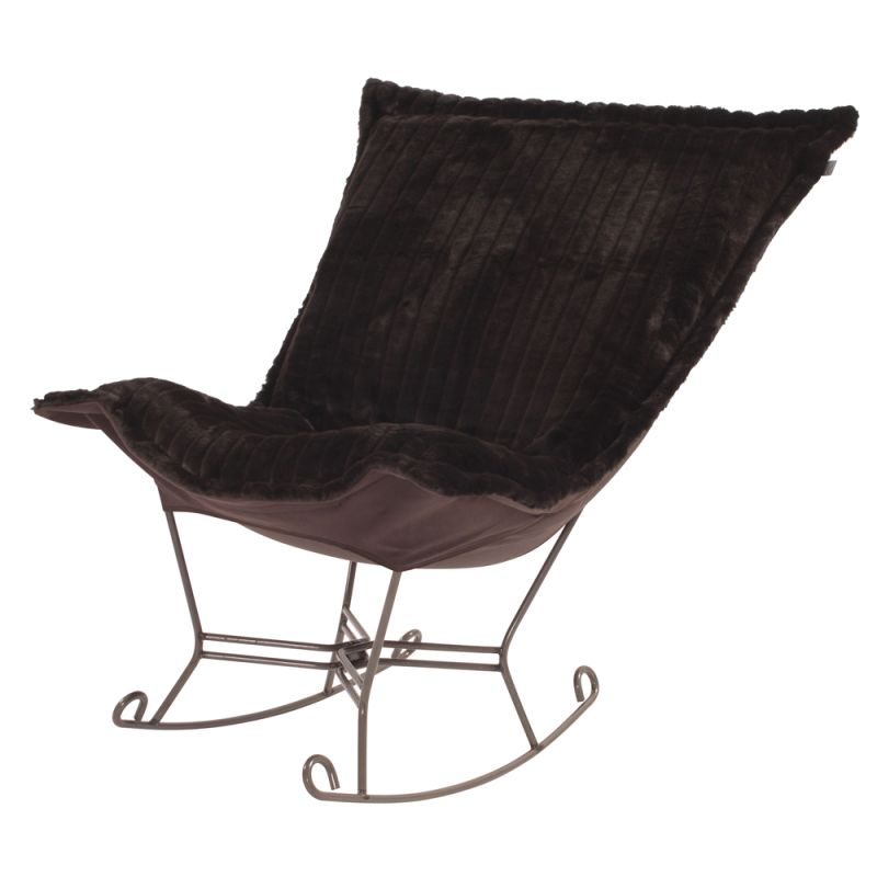 "Howard Elliott Mink Scroll Puff Rocker with Titanium Frame 40"" Tall"