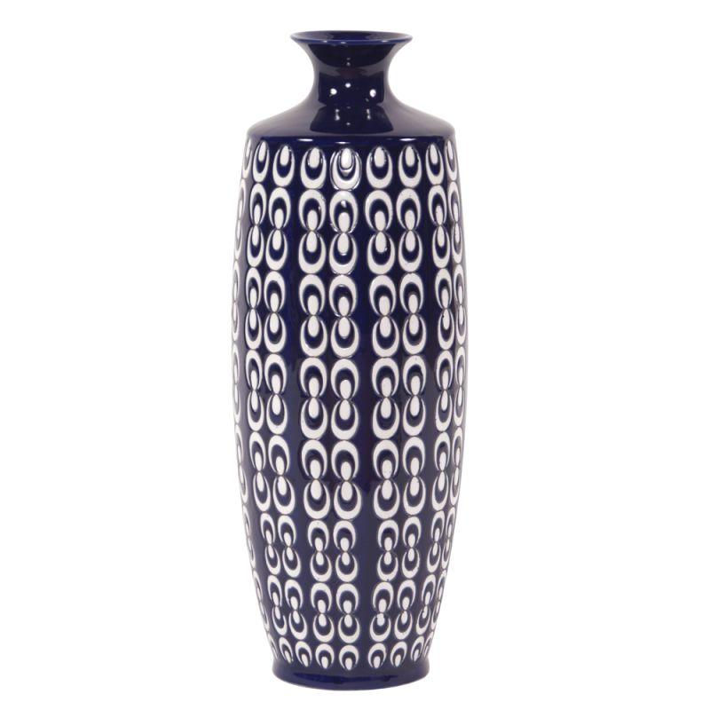 "Howard Elliott Large Navy Blue and White Textured Ceramic Vase 20.5"""