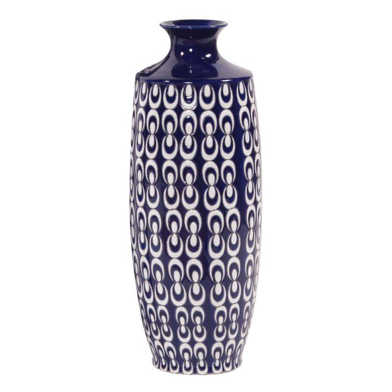 """Howard Elliott Small Navy Blue and White Textured Ceramic Vase 18.5"""""""