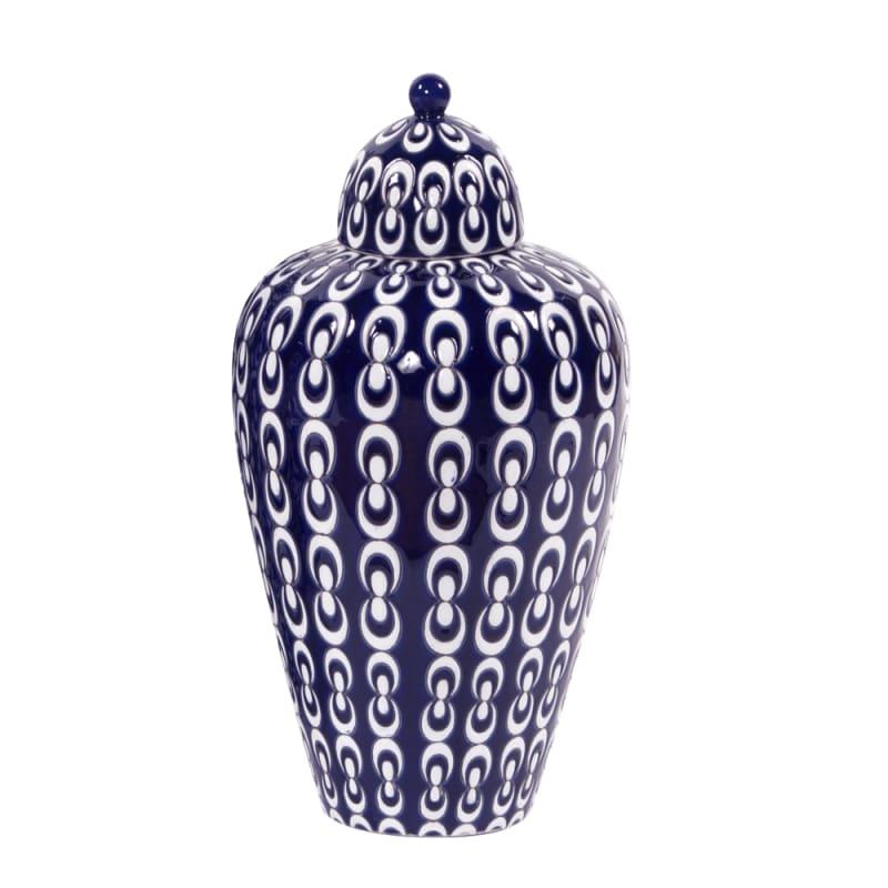 """Howard Elliott Medium Navy Blue Textured Ceramic Urn with Lid 16"""" Tall"""