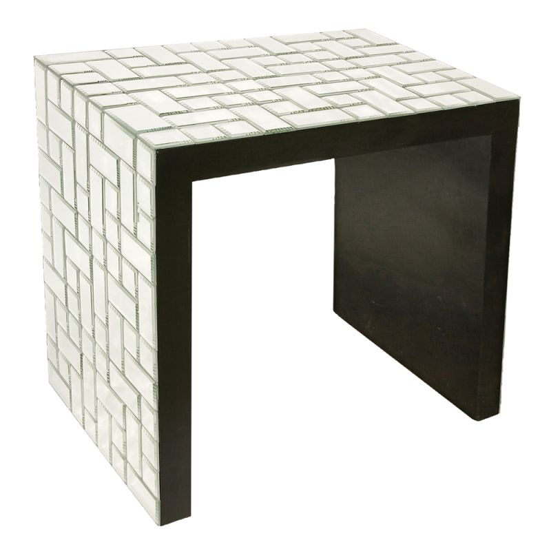 """Howard Elliott Mosaic Mirrored Accent Table 28"""" Wide Mirrored Glass"""