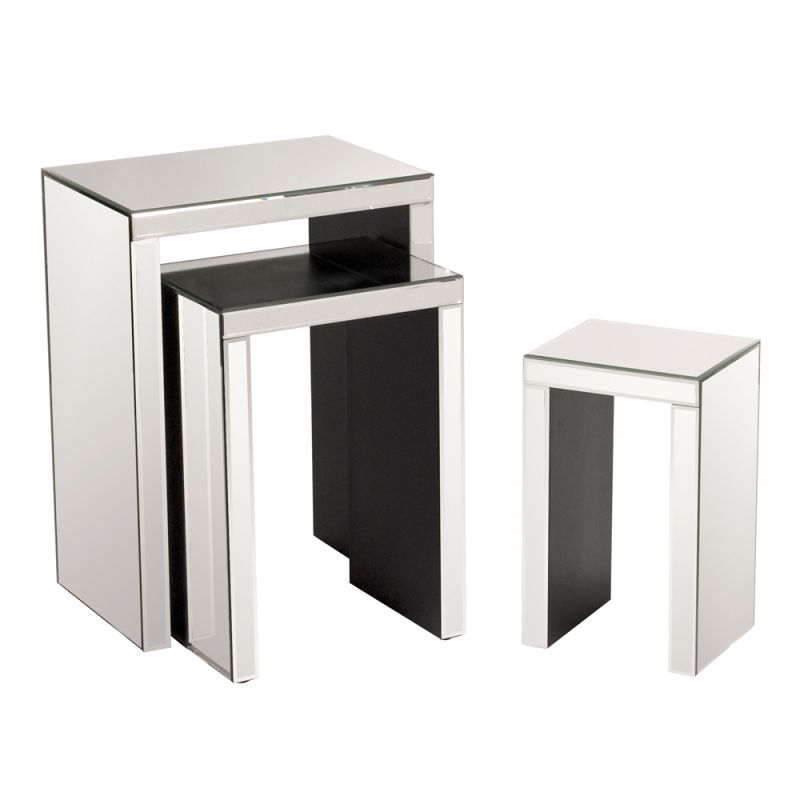 Howard Elliott Lyra Accent Nesting Tables (Set of 3) Wood and Mirrored