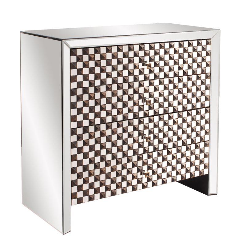"Howard Elliott Studded Mirrored Dresser 36"" Wide 4 Drawer Wood and"