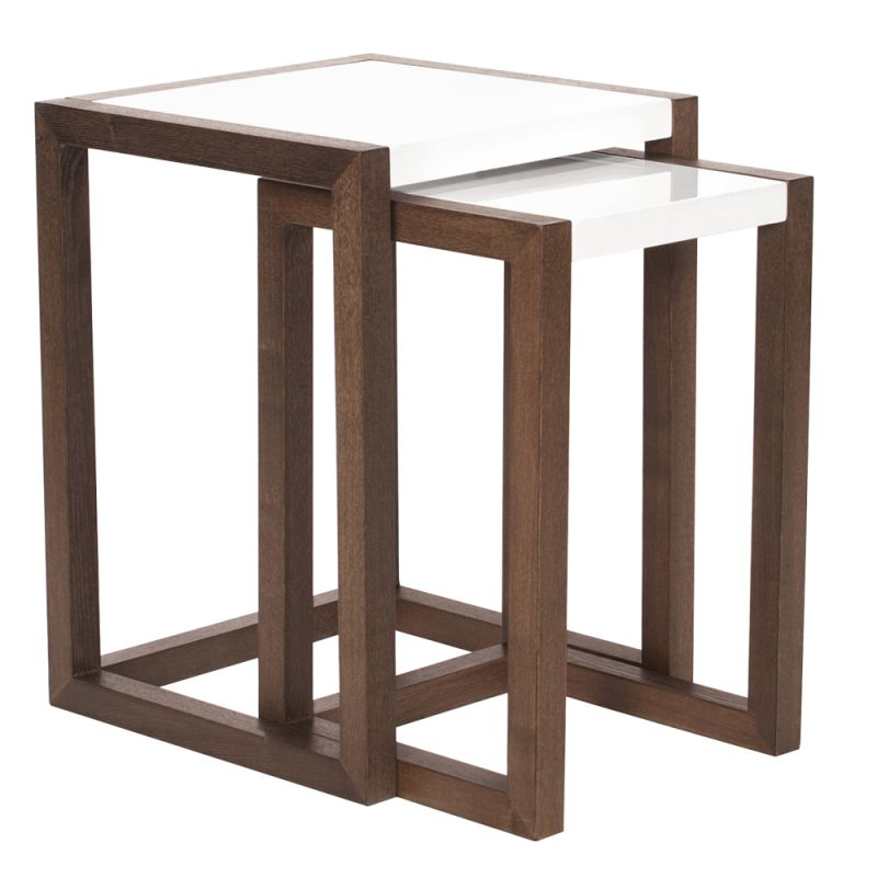Howard Elliott Java Brown Wood Nesting Tables (Set of 2) Java Brown
