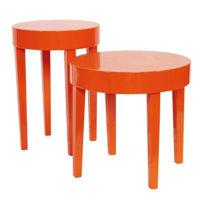 Howard Elliott Orange Nesting Table Set Set of Wood Nesting Tables
