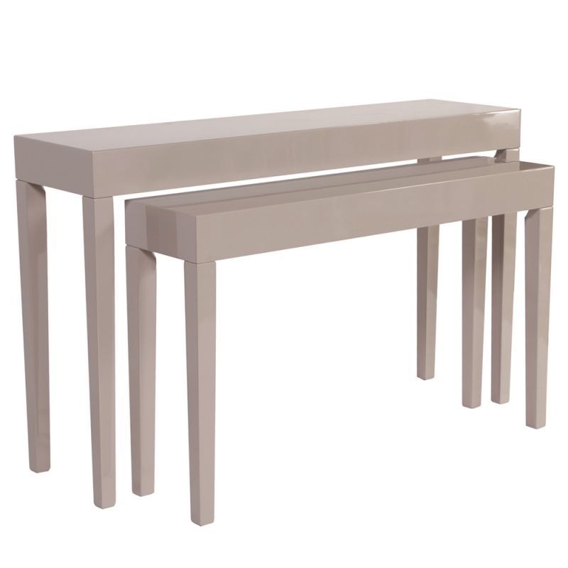 Howard Elliott Glossy Taupe Nesting Console Table Set Set of 2 Wood