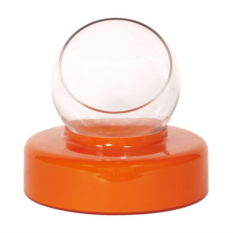 "Howard Elliott Tall Orange Round Hand Blown Glass Vase 10"" Tall Hand"