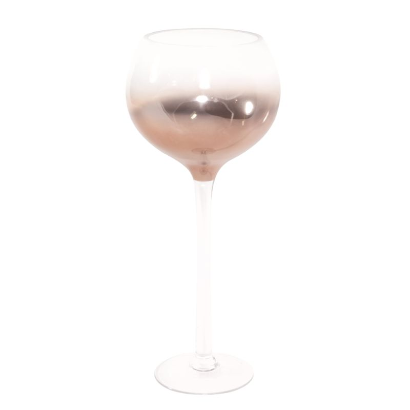 "Howard Elliott Hand Blown Glass Goblet with Rose Gold Finish 23"" Tall"