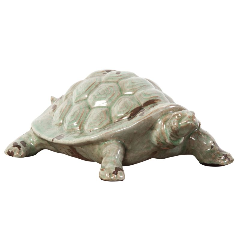 "Howard Elliott Rustic Turtle Ceramic Sculpture 5.5"" Tall Ceramic"