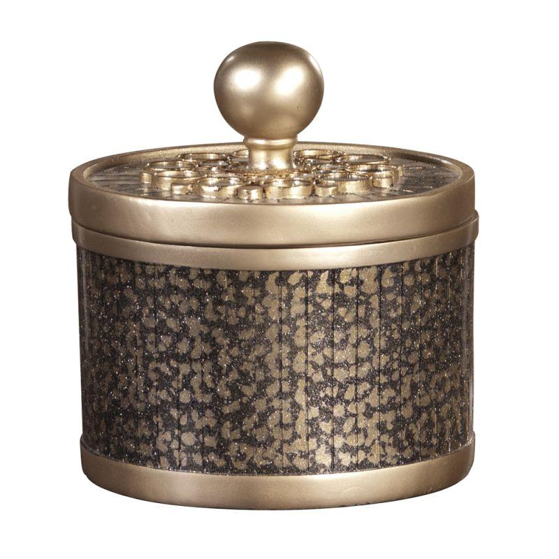 "Howard Elliott Gold Decorative Box 7"" Diameter Resin Decorative Box"