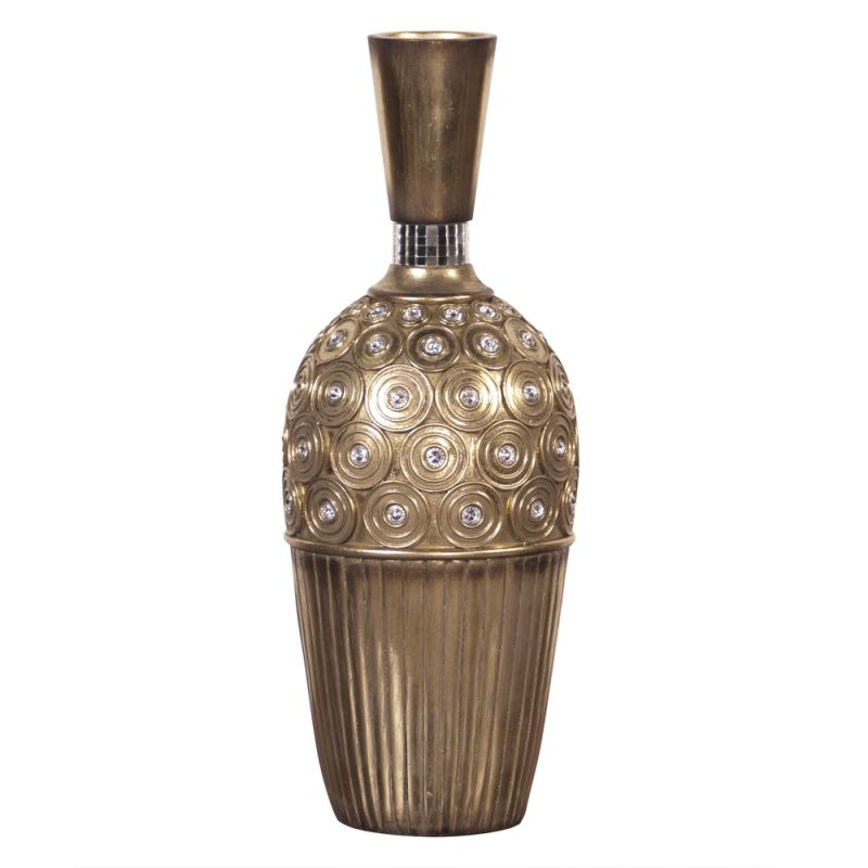 """Howard Elliott Gold Gem Studded Small Vase 16"""" Tall Resin Studded Vase"""