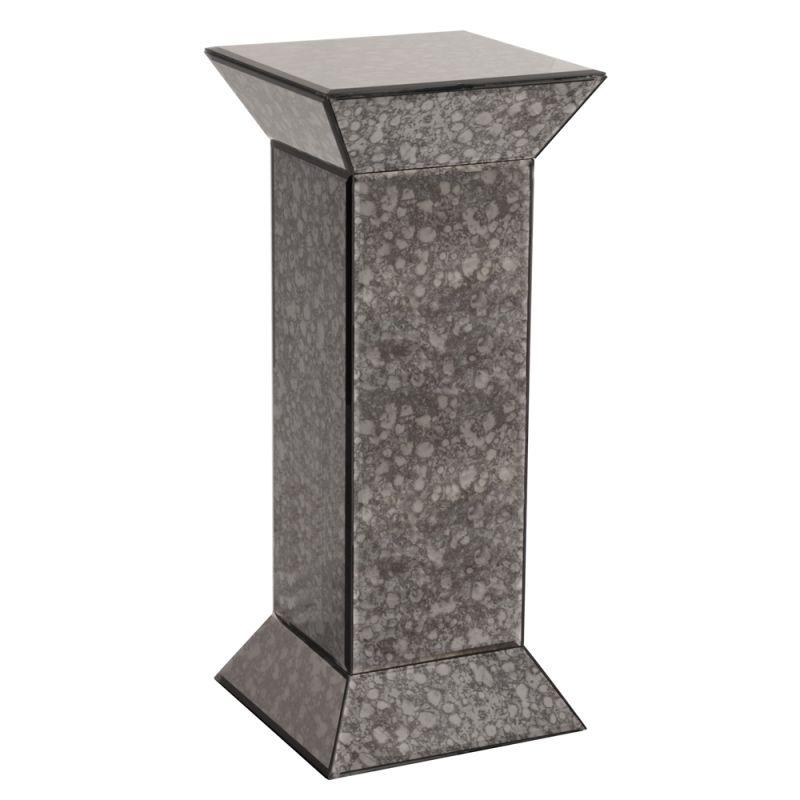 """Howard Elliott Atlas gray Antiqued Mirrored Pedestal 28"""" Tall Mirrored"""
