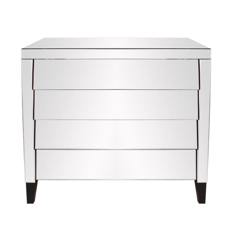 "Howard Elliott Mirrored 4 Drawer Dresser 39"" Wide 3 Drawer Wood and"