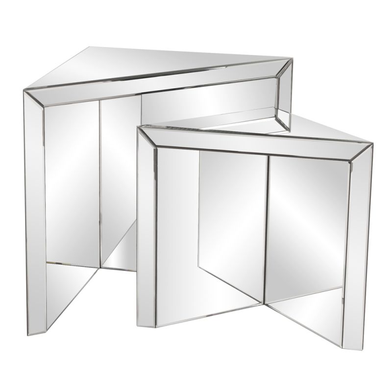 Howard Elliott Mirrored Triangle Nesting Tables Set of 2 Mirrored