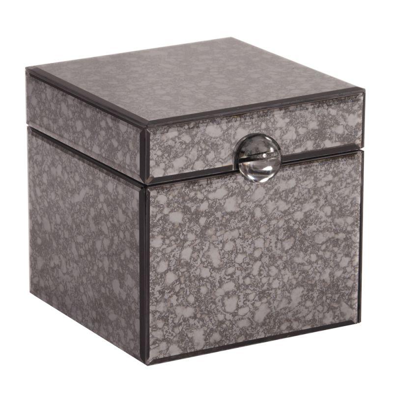 "Howard Elliott Acid Treated Gray Mirrored Box with Acrylic Handle 10"""