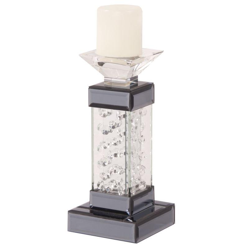"""Howard Elliott Tall Mirrored Pedestal Candleholder 13"""" Tall Glass and"""