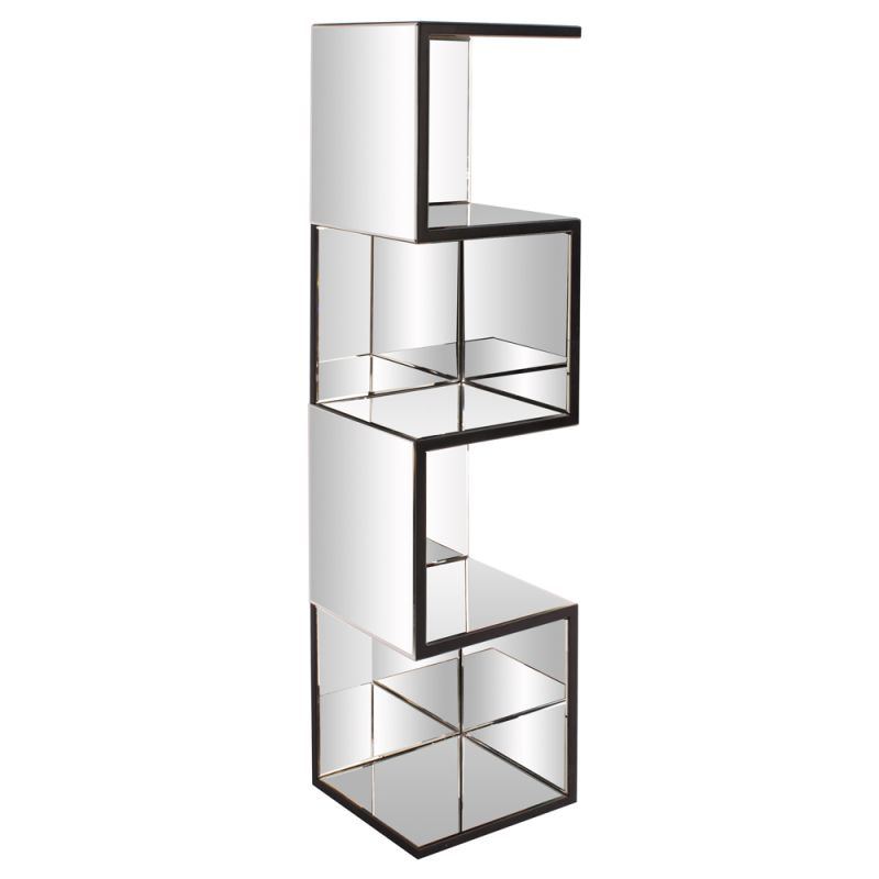 "Howard Elliott Mirrored Shelf with Zig Zag Effect 59"" Tall Mirrored"