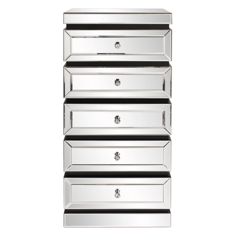"Howard Elliott 5 Tiered Mirrored Tower with Drawers 24"" Wide 5 Drawer"