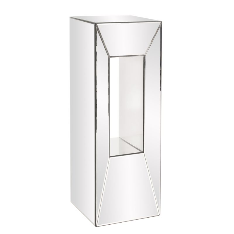 "Howard Elliott Large Mirrored Pedestal with Offset Opening 36"" Tall"