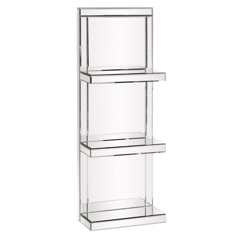 "Howard Elliott Mirrored 3 Shelf Unit 42.5"" Tall Mirrored Glass Shelves"
