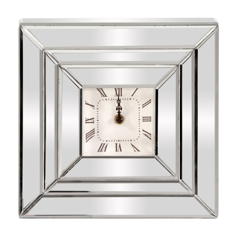 "Howard Elliott Square Mirrored Clock 10"" Wide Analog Wall Clock"