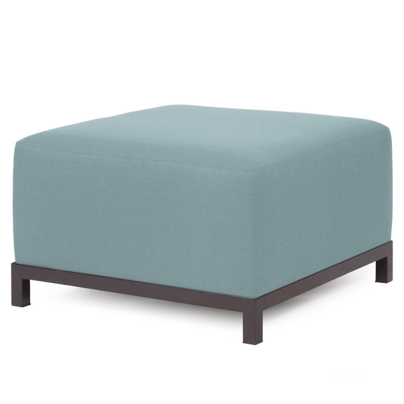 "Howard Elliott Sterling Axis Ottoman with Mahogany Frame 30.5"" Square"