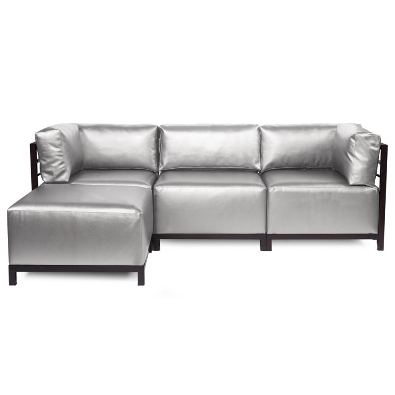Howard Elliott Shimmer Axis 4 Piece Sectional with Mahogany Frame