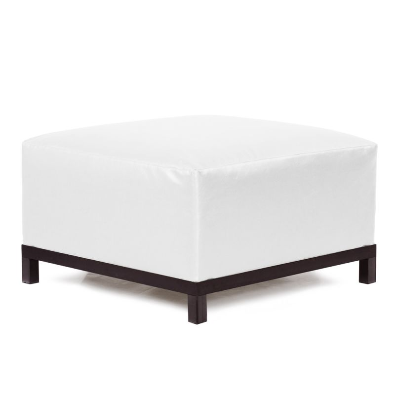 "Howard Elliott Atlantis Axis Ottoman with Mahogany Frame 30.5"" Square"