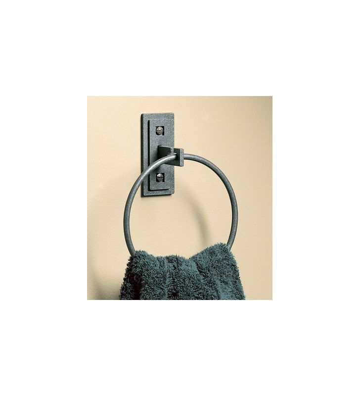 """Hubbardton Forge 841005 7""""H Ring Towel Holder Natural Iron Accessory"""