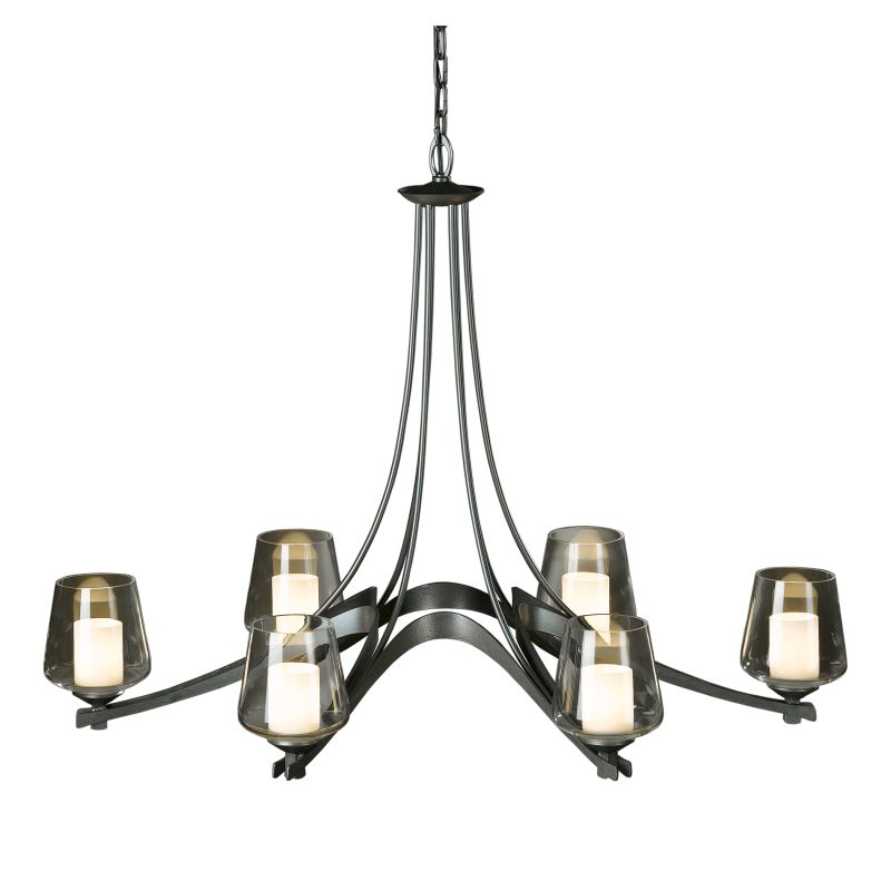 "Hubbardton Forge 104116 Oval Ribbon 6 Light 25"" Wide Chandelier with"