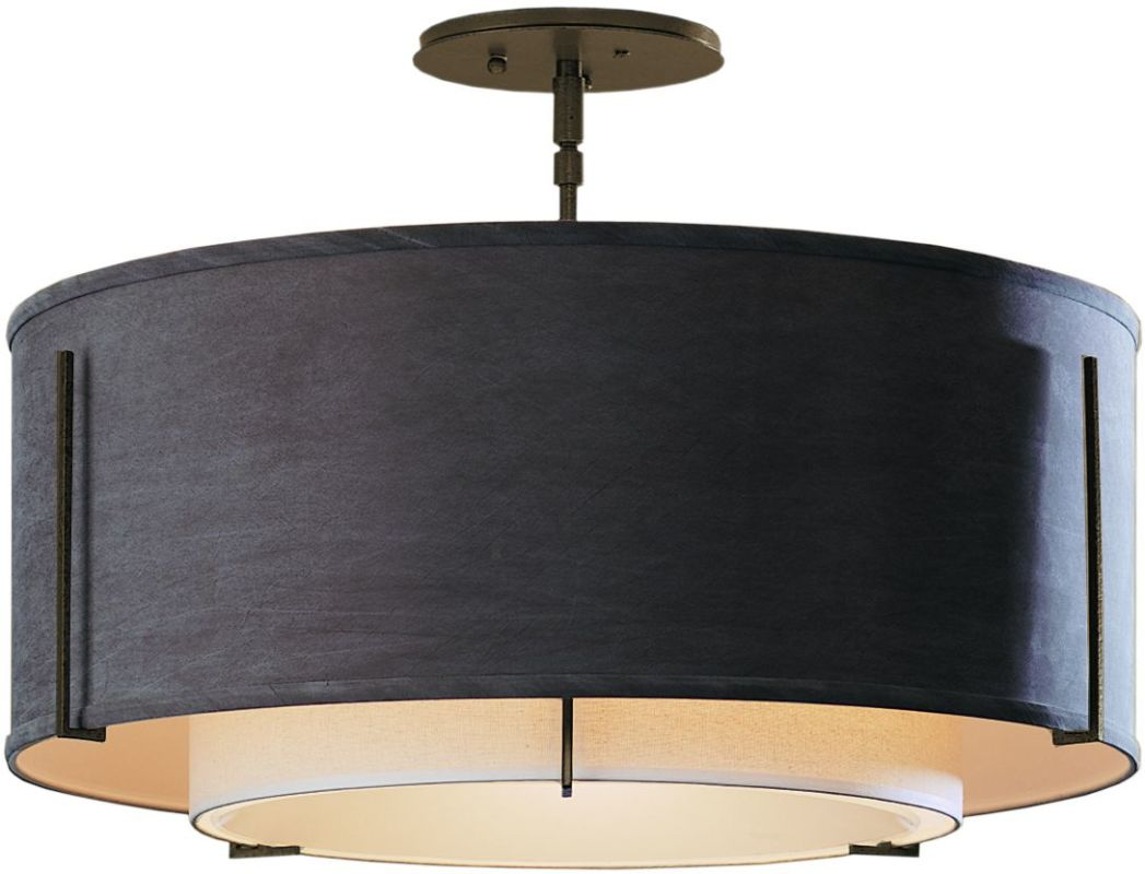 "Hubbardton Forge 126503 1 Light Semi-Flush Medium Ceiling Fixture from Sale $924.00 ITEM#: 1283405 MODEL# :126503-05 Features: All Hubbardton Forge products are made to order in Castleton, Vermont USA Ultra secure mounting assembly ensures a sturdy installation Sends light in a downward direction as well as providing a general ambient light for your room Hand made nature of this product makes no two fixtures identicalSpecifications: Number of Bulbs: 3 Bulb Base: Medium (E26) Bulb Type: Compact Fluorescent Watts Per Bulb: 100 Wattage: 225 Height: 15.3"" Width: 22.9"" UL Listed: Yes UL Rating: Dry LocationCompliance: UL Listed - Indicates whether a product meets standards and compliance guidelines set by Underwriters Laboratories. This listing determines what types of rooms or environments a product can be used in safely.Warranty: All Hubbardton Forge products come with a limited lifetime warranty on finish and electrical components. This includes products used outdoors and near the coast. Read more about the Hubbardton Forge warranty below. Celebrating 40 years in business, Hubbardton Forge has been serving their customers by manufacturing unique pieces of lighting for years. Steadfastly committed to designing, manufacturing, and creating lighting under one roof in Vermont, you'll find no comparison between a Hubbardton Forge product and another lighting brand. Unlike brands who build their products overseas, each Hubbardton Forge piece is crafted, boxed, and shipped just for you. Experience the difference today! :"
