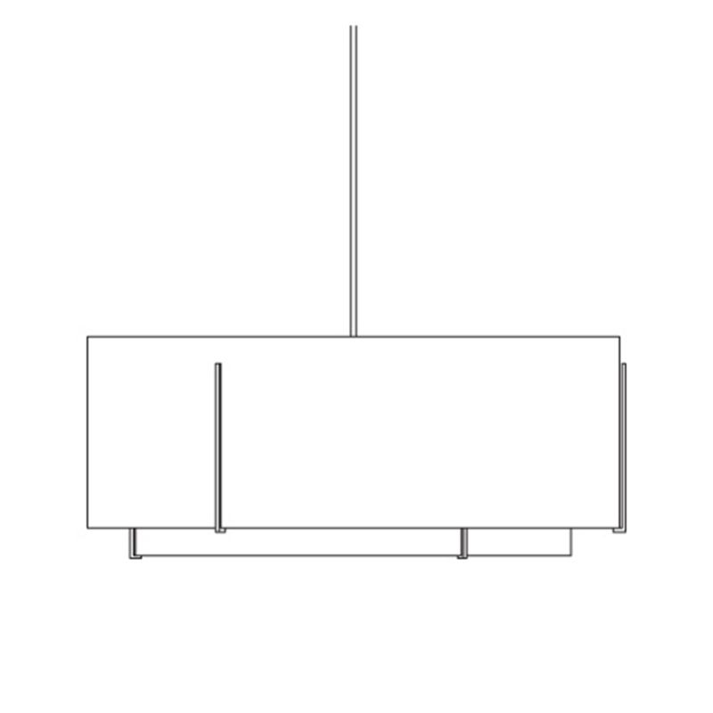 "Hubbardton Forge 19466600F Exos 6 Light 68"" Wide CFL Single Chandelier"