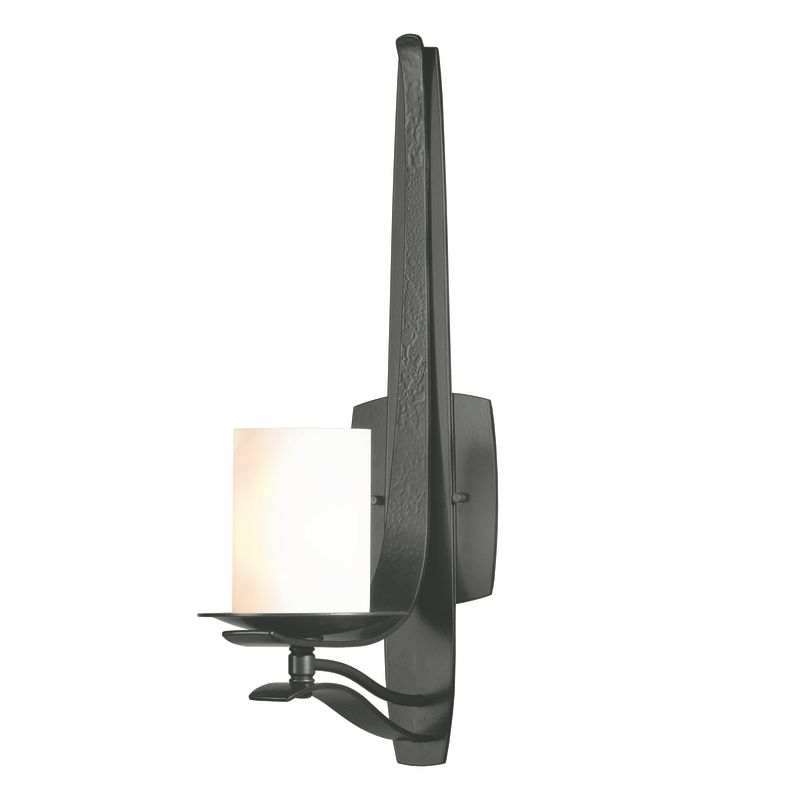 "Hubbardton Forge 204050 1 Light Up Light Wall Sconce from the Berceau Sale $653.40 ITEM#: 1563096 MODEL# :204050-08 Features: All Hubbardton Forge products are made to order in Castleton, Vermont USA Ultra secure mounting assembly ensures a sturdy installation Sends light in an upward direction as well as providing a general ambient light for your room Hand made nature of this product makes no two fixtures identicalLamping Technology: Bulb Base - Candelabra (E12): The E12 (Edison 12mm), Candelabra Edison Screw (CES), ""Candelabra"" is a term for the small-based incandescent light bulbs used in luminaires made for lighting and decoration. Compatible Bulb Types: Nearly all bulb types can be found for the E12 Candelabra Base, options include Incandescent, Fluorescent, LED, Halogen, and Xenon / Krypton.Specifications: Number of Bulbs: 1 Bulb Base: Candelabra (E12) Bulb Type: Compact Fluorescent Watts Per Bulb: 60 Wattage: 60 Height: 19.5"" Width: 5.5"" Extension: 8.4"" UL Listed: Yes UL Rating: Damp LocationCompliance: UL Listed - Indicates whether a product meets standards and compliance guidelines set by Underwriters Laboratories. This listing determines what types of rooms or environments a product can be used in safely.Warranty: All Hubbardton Forge products come with a limited lifetime warranty on finish and electrical components. This includes products used outdoors and near the coast. Read more about the Hubbardton Forge warranty below. Celebrating 40 years in business, Hubbardton Forge has been serving their customers by manufacturing unique pieces of lighting for years. Steadfastly committed to designing, manufacturing, and creating lighting under one roof in Vermont, you'll find no comparison between a Hubbardton Forge product and another lighting brand. Unlike brands who build their products overseas, each Hubbardton Forge piece is crafted, boxed, and shipped just for you. Experience the difference today! :"