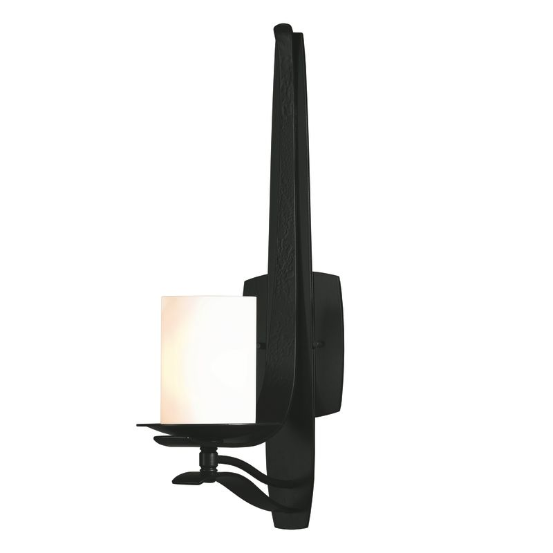 "Hubbardton Forge 204050 1 Light Up Light Wall Sconce from the Berceau Sale $653.40 ITEM#: 1563097 MODEL# :204050-10 Features: All Hubbardton Forge products are made to order in Castleton, Vermont USA Ultra secure mounting assembly ensures a sturdy installation Sends light in an upward direction as well as providing a general ambient light for your room Hand made nature of this product makes no two fixtures identicalLamping Technology: Bulb Base - Candelabra (E12): The E12 (Edison 12mm), Candelabra Edison Screw (CES), ""Candelabra"" is a term for the small-based incandescent light bulbs used in luminaires made for lighting and decoration. Compatible Bulb Types: Nearly all bulb types can be found for the E12 Candelabra Base, options include Incandescent, Fluorescent, LED, Halogen, and Xenon / Krypton.Specifications: Number of Bulbs: 1 Bulb Base: Candelabra (E12) Bulb Type: Compact Fluorescent Watts Per Bulb: 60 Wattage: 60 Height: 19.5"" Width: 5.5"" Extension: 8.4"" UL Listed: Yes UL Rating: Damp LocationCompliance: UL Listed - Indicates whether a product meets standards and compliance guidelines set by Underwriters Laboratories. This listing determines what types of rooms or environments a product can be used in safely.Warranty: All Hubbardton Forge products come with a limited lifetime warranty on finish and electrical components. This includes products used outdoors and near the coast. Read more about the Hubbardton Forge warranty below. Celebrating 40 years in business, Hubbardton Forge has been serving their customers by manufacturing unique pieces of lighting for years. Steadfastly committed to designing, manufacturing, and creating lighting under one roof in Vermont, you'll find no comparison between a Hubbardton Forge product and another lighting brand. Unlike brands who build their products overseas, each Hubbardton Forge piece is crafted, boxed, and shipped just for you. Experience the difference today! :"