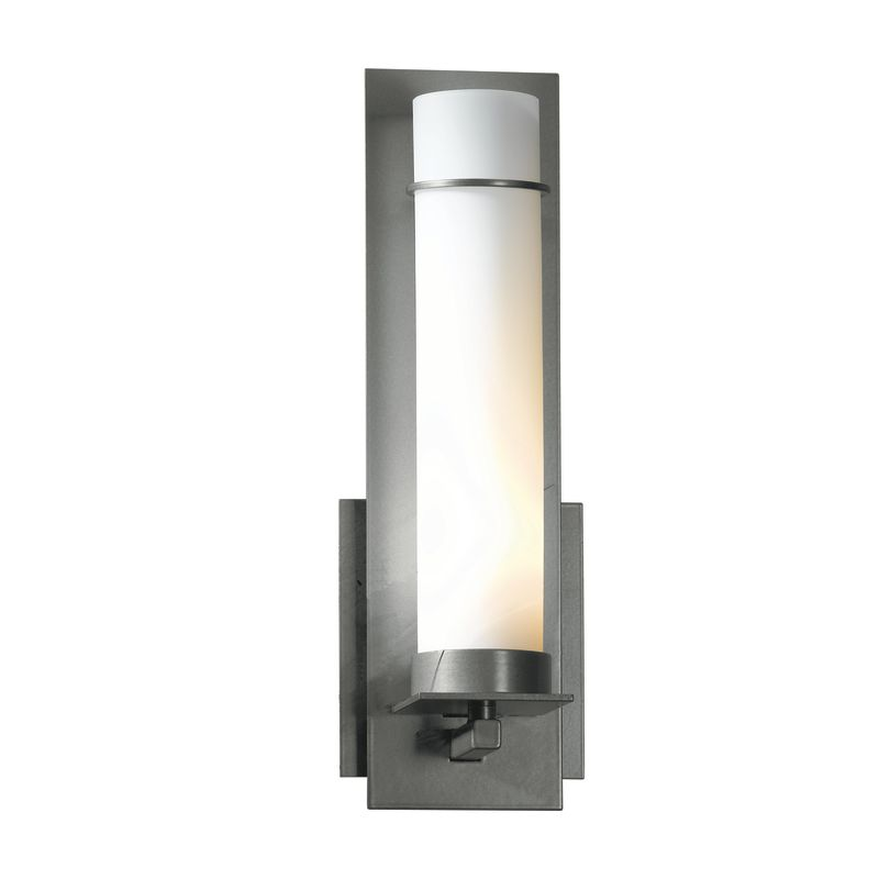"""Hubbardton Forge 204260 1 Light Wall Sconce from the New Town Sale $424.60 ITEM#: 1164001 MODEL# :204260-08 Features: All Hubbardton Forge products are made to order in Castleton, Vermont USA Ultra secure mounting assembly ensures a sturdy installation Sends light in an upward direction as well as providing a general ambient light for your room Hand made nature of this product makes no two fixtures identicalLamping Technology: Bulb Base - Candelabra (E12): The E12 (Edison 12mm), Candelabra Edison Screw (CES), """"Candelabra"""" is a term for the small-based incandescent light bulbs used in luminaires made for lighting and decoration. Compatible Bulb Types: Nearly all bulb types can be found for the E12 Candelabra Base, options include Incandescent, Fluorescent, LED, Halogen, and Xenon / Krypton.Specifications: Number of Bulbs: 1 Bulb Base: Candelabra (E12) Bulb Type: Compact Fluorescent Watts Per Bulb: 60 Wattage: 60 Height: 12.6"""" Width: 4.25"""" Depth: 3.7"""" Extension: 3.7"""" ADA: Yes UL Listed: Yes UL Rating: Damp LocationCompliance: ADA Compliance - The Americans with Disabilities Act (ADA). Fixtures hung between 27"""" and 80"""" above the floor must have an extension of 4"""" or less; this applies to wall lights hung in walkways, halls, corridors, passageways or aisles. Ceiling Fixtures must be hung no lower than 80"""". UL Listed - Indicates whether a product meets standards and compliance guidelines set by Underwriters Laboratories. This listing determines what types of rooms or environments a product can be used in safely.Warranty: All Hubbardton Forge products come with a limited lifetime warranty on finish and electrical components. This includes products used outdoors and near the coast. Read more about the Hubbardton Forge warranty below. Celebrating 40 years in business, Hubbardton Forge has been serving their customers by manufacturing unique pieces of lighting for years. Steadfastly committed to designing, manufacturing, and creating lighting under one roof in Vermont, you'l"""