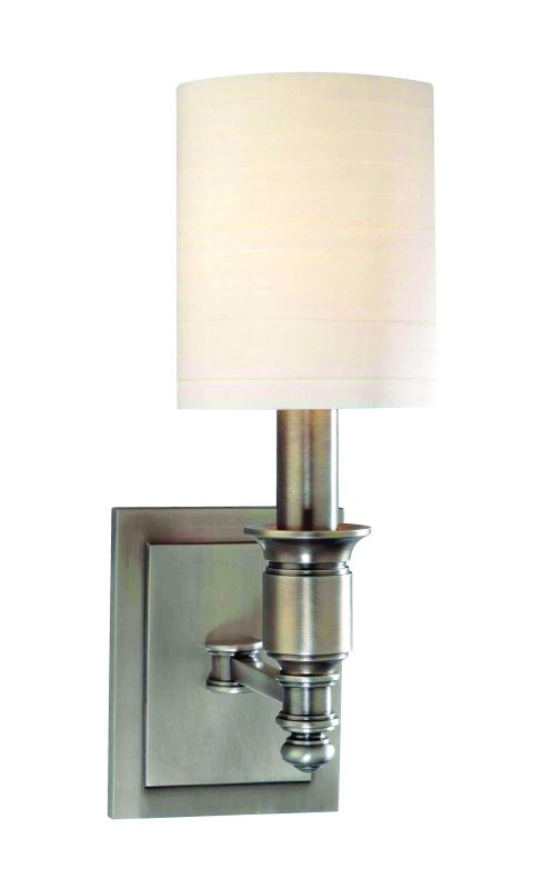 "Hudson Valley Lighting 7501 Single Light Up Lighting Wallchiere Style Sale $268.00 ITEM#: 1737629 MODEL# :7501-AN UPC#: 806134125097 Traditional / Classic Single Light Up Lighting Wallchiere Style Wall Sconce with Cylinder Faux Silk Shade from the Whitney Collection Whitney Collection Single Light Up Lighting Wallchiere Sconce with Cylinder Faux Silk Shade. Features: Cylinder Faux Silk Shade Specifications: Requires (1) 60W Candelabra Based Bulb (Not Included) Height: 13.25"" Width: 5"" Extension: 7.5"" Wall Plate Dimensions: 4.25""W x 5.5""H Shade Dimensions: 6""H x 5"" Diameter :"