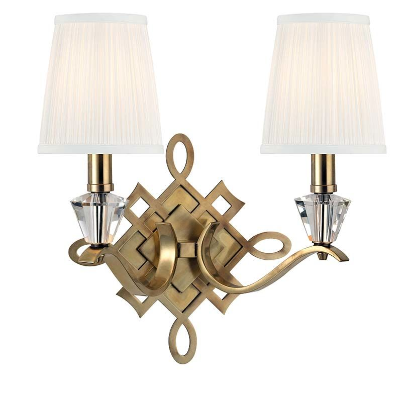 Hudson Valley Lighting 8182 Fowler 2 Light Wall Sconce Aged Brass Sale $534.00 ITEM#: 2295458 MODEL# :8182-AGB UPC#: 806134161705 :