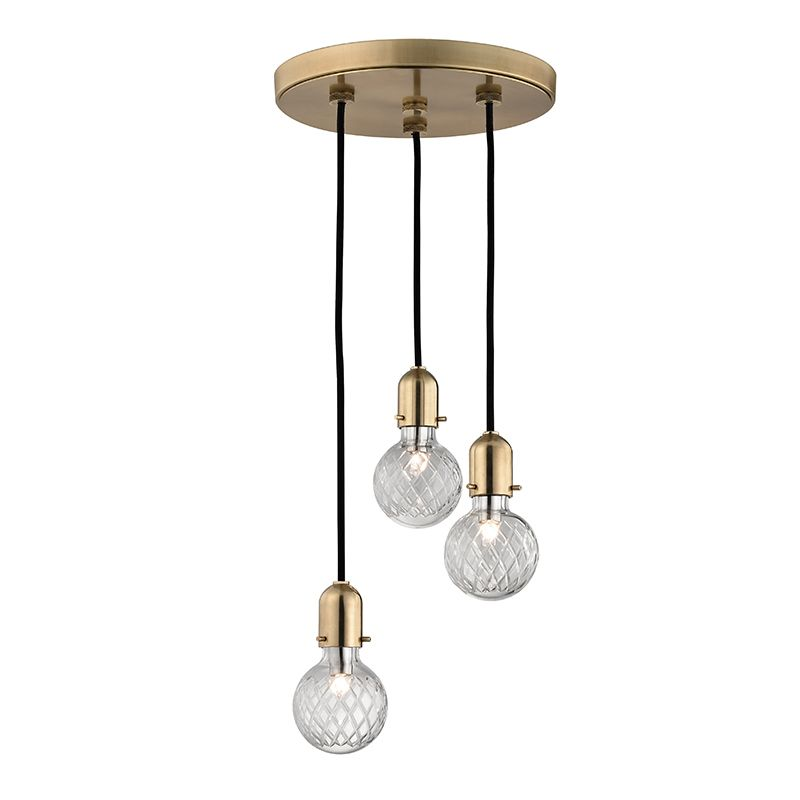 """Hudson Valley Lighting 1103 Marlow 3 Light 6"""" Pendant with Hand Cut"""