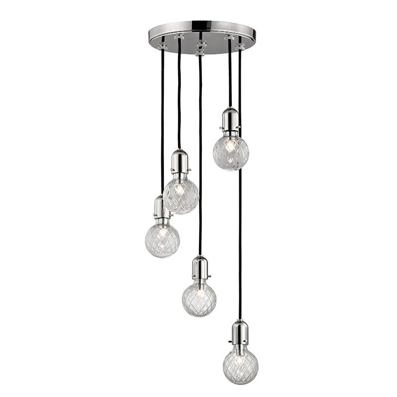 """Hudson Valley Lighting 1105 Marlow 5 Light 6"""" Pendant with Hand Cut"""