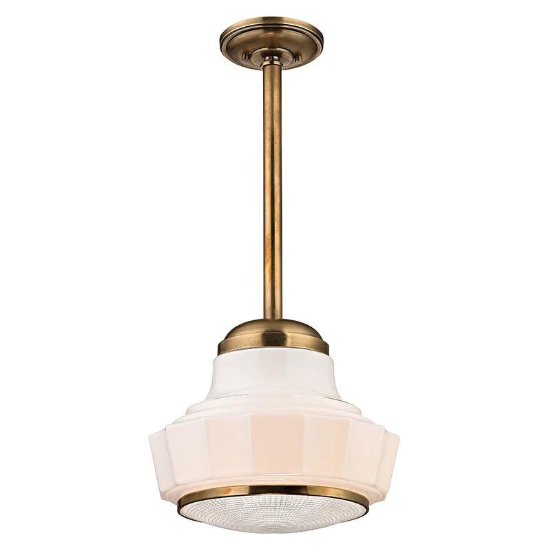 "Hudson Valley Lighting 3809 Odessa 1 Light 9"" Schoolhouse Pendant Aged"