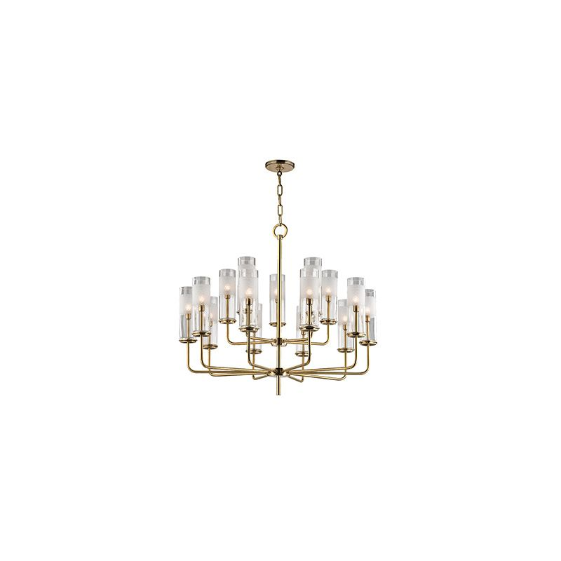 """Hudson Valley Lighting 3930 Wentworth 15 Light 26"""" Tall Two Tier Sale $2350.00 ITEM#: 2679965 MODEL# :3930-AGB UPC#: 806134190378 :"""