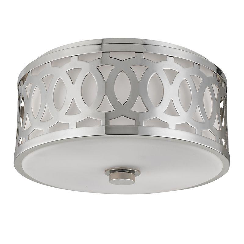 """Hudson Valley Lighting 4314 Genesee 2 Light 13"""" Flush Mount Ceiling Sale $450.00 ITEM#: 2680264 MODEL# :4314-PN UPC#: 806134185794 :"""