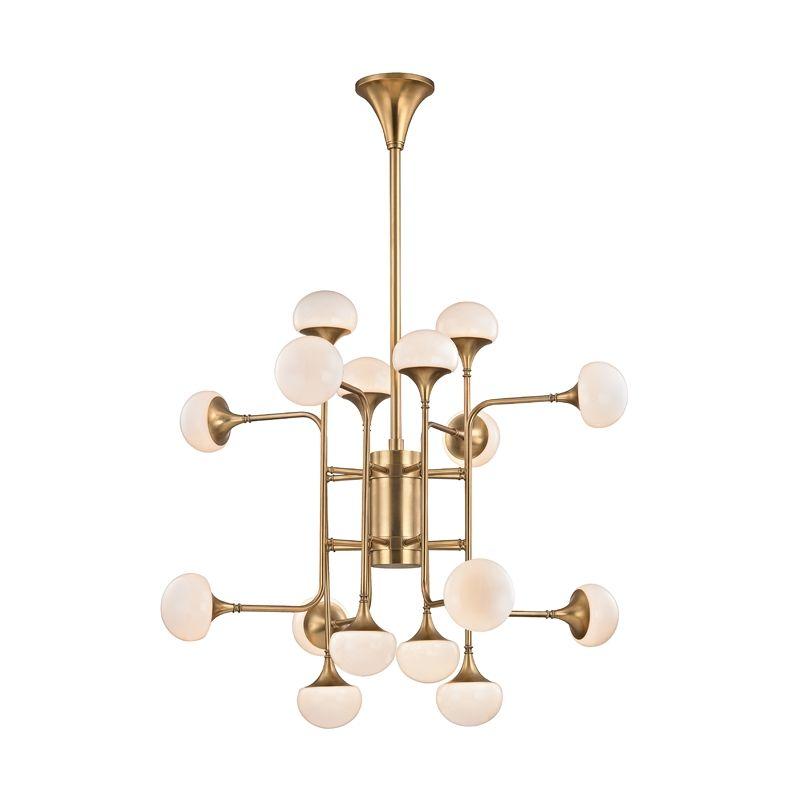 "Hudson Valley Lighting 4716 Fleming 16 Light 36"" Wide LED 2 Tier Sale $2350.00 ITEM#: 3006393 MODEL# :4716-AGB UPC#: 806134797607 :"