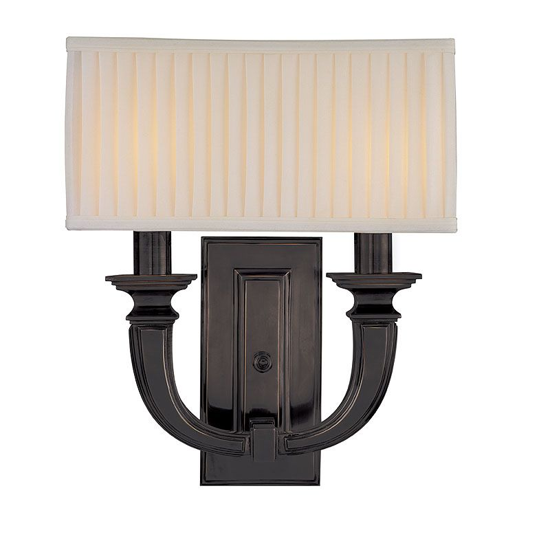 "Hudson Valley Lighting 542 Two Light Up Lighting Brass Wallchiere Sale $642.00 ITEM#: 1737448 MODEL# :542-OB UPC#: 806134117894 Transitional Two Light Up Lighting Brass Wallchiere Double Sconce with Linen Rectangular Shaped Pleated Shade from the Phoenicia Collection Phoenicia Collection Two Light Up Lighting Brass Wallchiere Double Sconce with Rectangular Shaped Shade. Features: Linen Pleated Rectangular Shade Solid Brass Construction Specifications: Requires (2) 60W Candelabra Based Bulbs (Not Included) Height: 15"" Width: 13.5"" Extension: 6"" Wall Plate Dimensions: 4.5""W x 8.75""H Shade Dimensions: 13.5""W x 5""D x 6""H :"