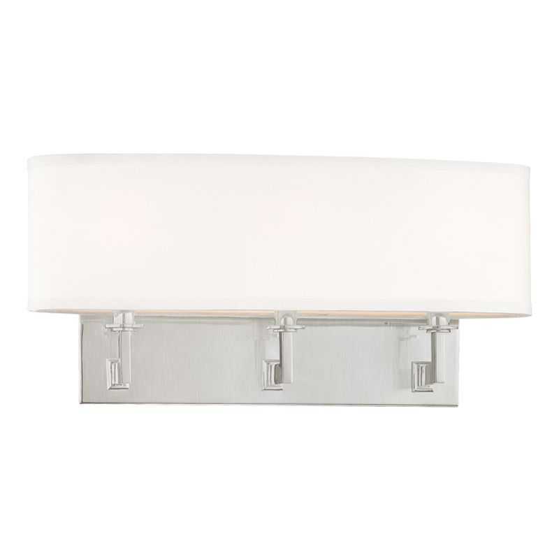 "Hudson Valley Lighting 593 Three Light Up / Down Lighting Triple Wall Sale $342.00 ITEM#: 1737518 MODEL# :593-SN UPC#: 806134106638 Transitional Three Light Up / Down Lighting Triple Wall Sconce with Oval Shaped Faux Silk Shade from the Grayson Collection Grayson Collection Three Light Up / Down Lighting Triple Wall Sconce with Oval Shaped Faux Silk Shade. Features: Faux Silk Oval Shade Specifications: Requires (3) 60W Candelabra Based Bulbs (Not Included) Height: 9"" Width: 19.5"" Extension: 6"" Wall Plate Dimensions: 4.75""H x 15""W Shade Dimensions: 4.5""W x 19.5""L x 5.5""H :"